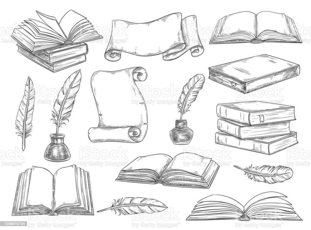 Old vintage books, retro ink quill pens and manuscripts sketch icons....