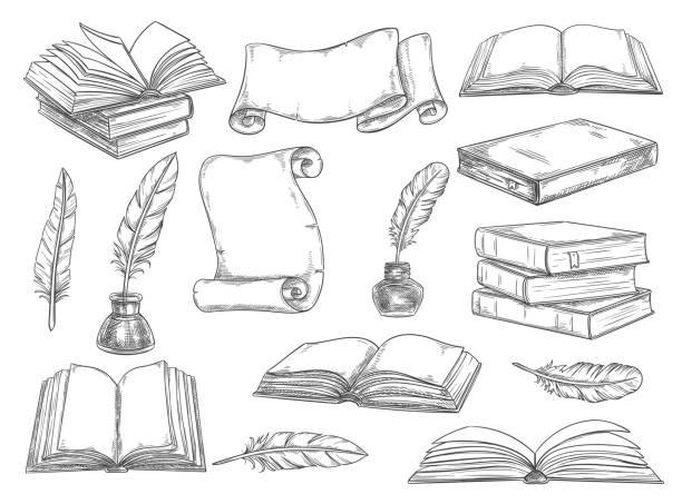 Retro books and literature quills vector sketch Old vintage books, retro ink quill pens and manuscripts sketch icons. Vector isolated set vintage book, writer writing stationery and inkwell for literature or bookstore design book drawings stock illustrations