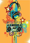 Retro-styled headphones & recorder, vector artwork