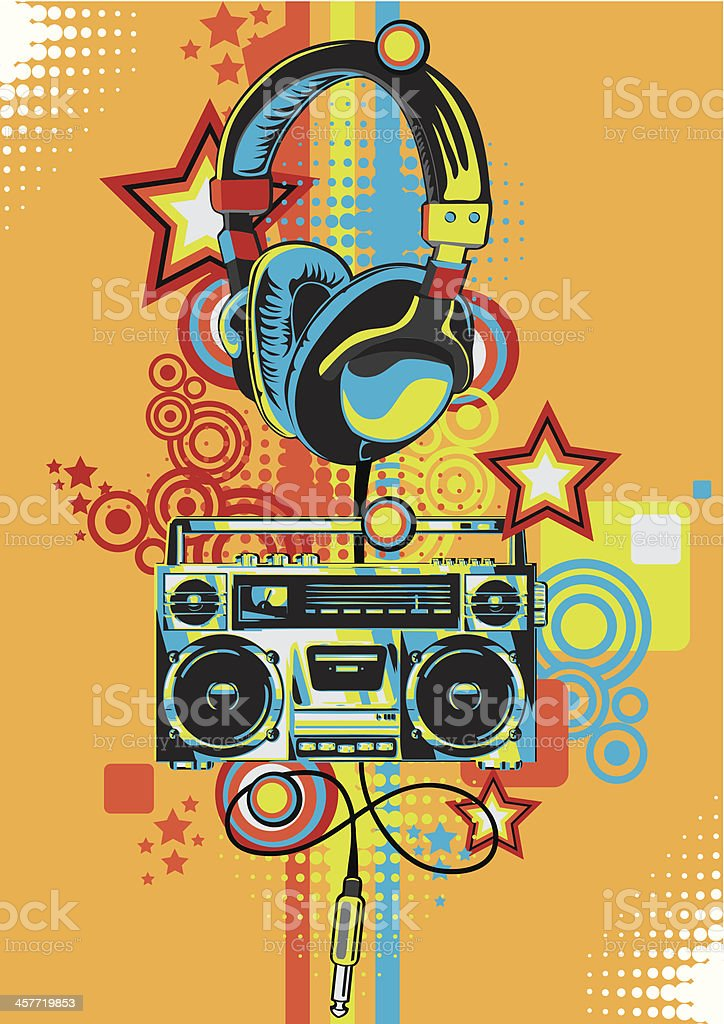 Retro boombox vector art illustration