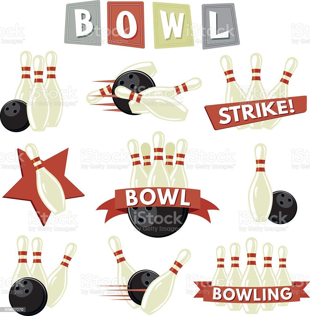 Retro Bowling Icons Set vector art illustration