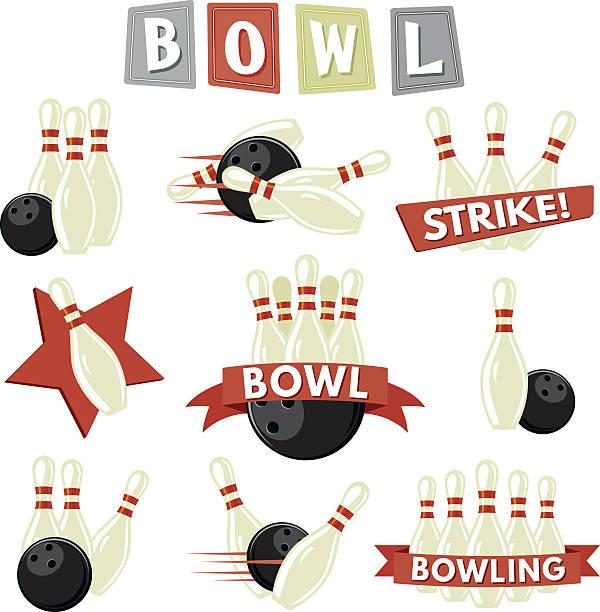 Retro Bowling Icons Set vector art illustration