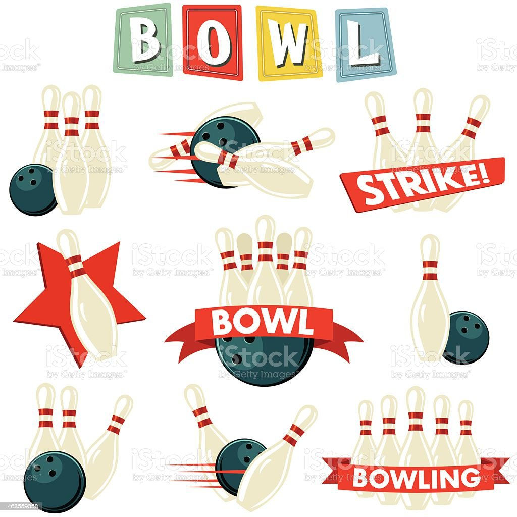 Retro Bowling Ornament Set vector art illustration