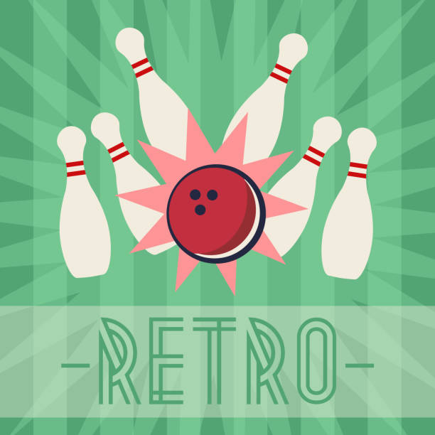Retro bowling strike with old fashioned background vector art illustration