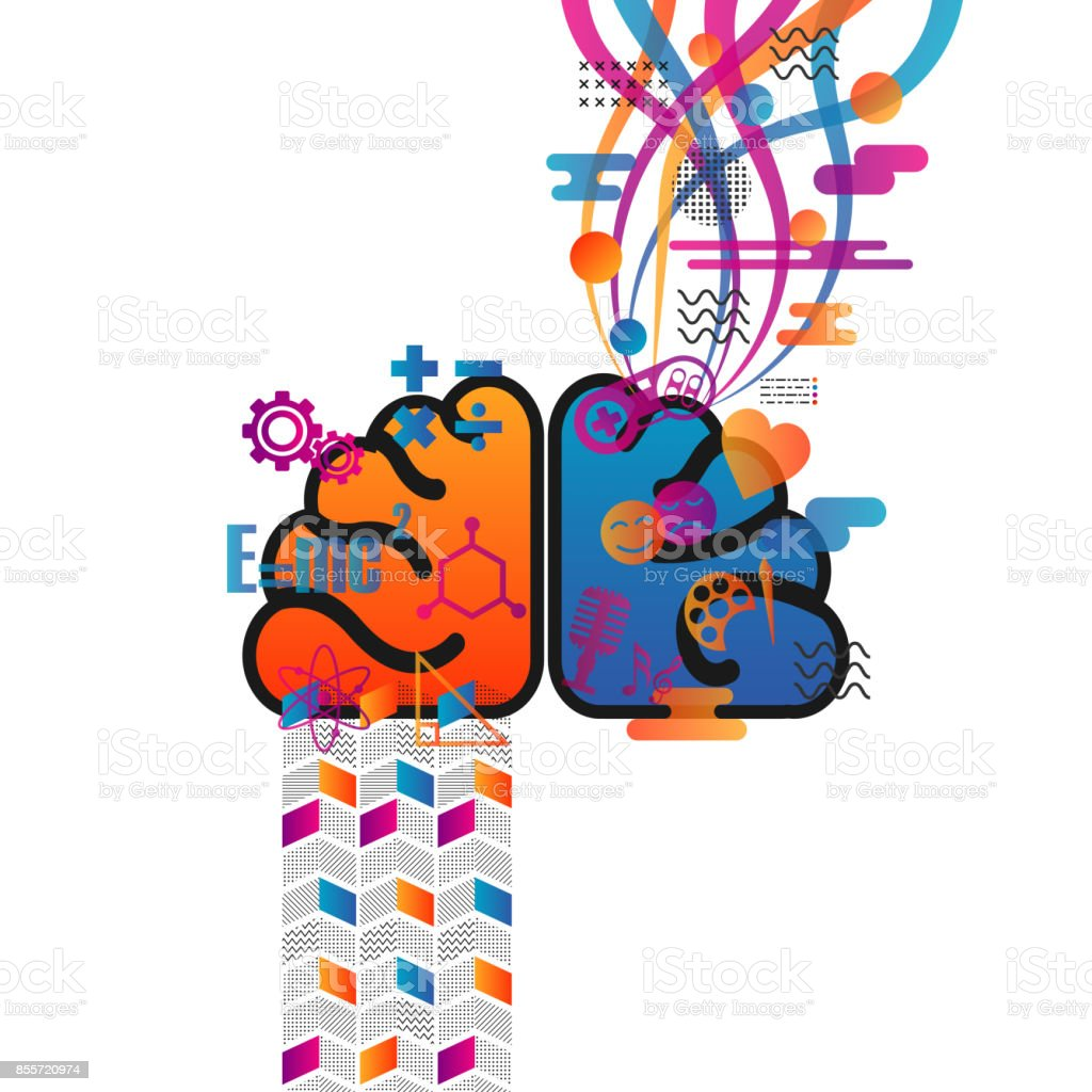 Retro Brain Function Chart Stock Vector Art More Images Of Anatomy