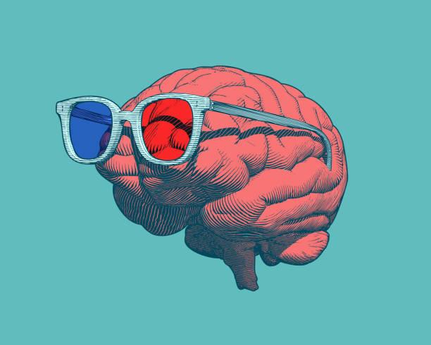 Retro brain with 3D glasses illustration on green BG Retro pop art orange engraving human brain with 3D glasses illustration in side view isolated on green background occipital lobe stock illustrations