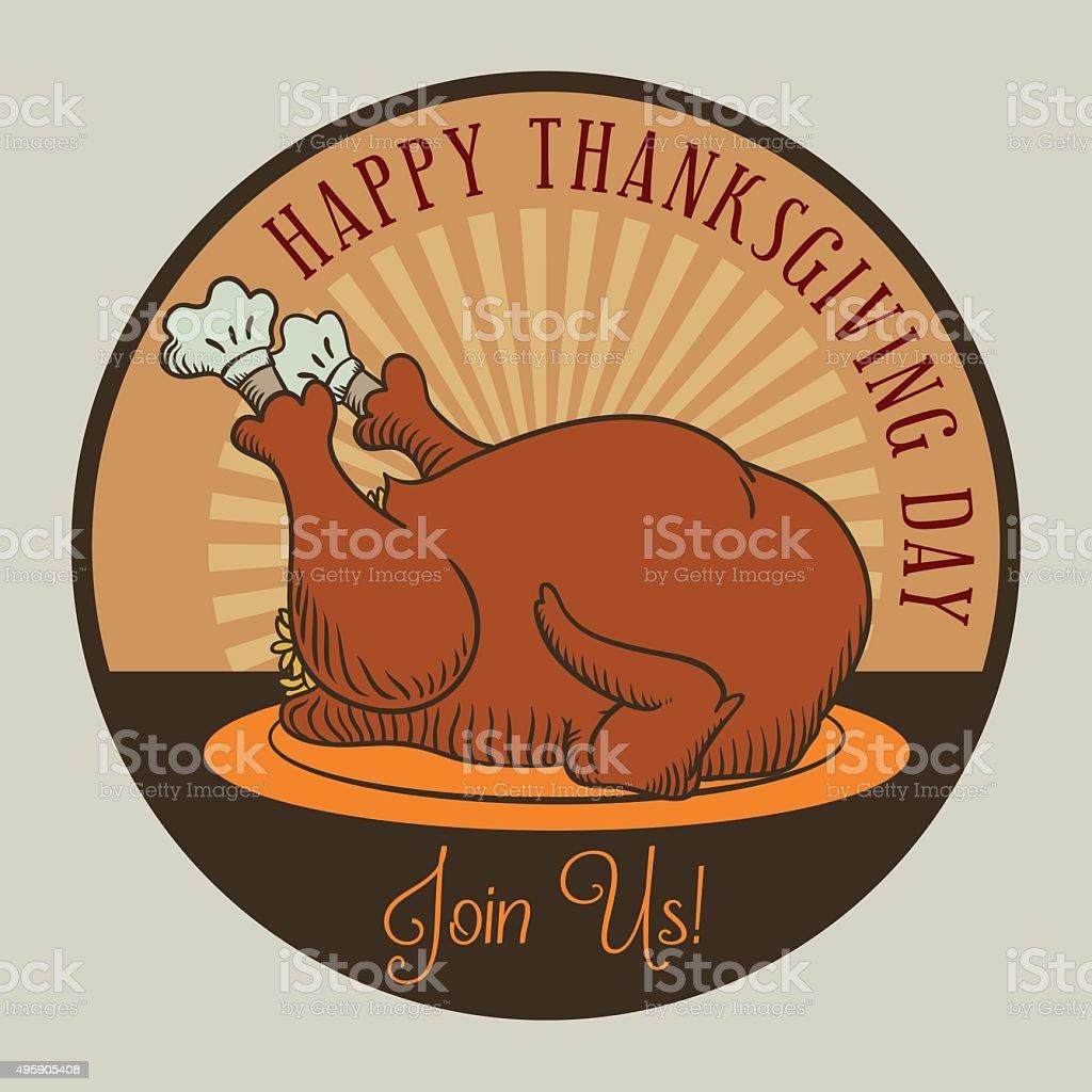 Retro Brand Mark Thanksgiving Dinner. vector art illustration