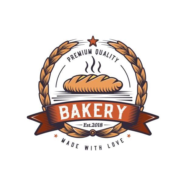 retro bread illustration. fast food logo design.vintage cooking badge. - food delivery stock illustrations