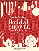 Retro Bridal Shower Invitation With Kitchen Gadgets