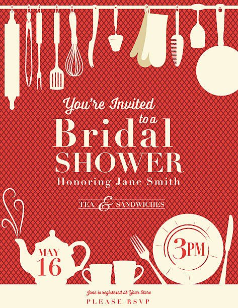 Retro Bridal Shower Invitation With Kitchen Gadgets Bridal shower Party Invitation with yellow silhouette hanging kitchen utensils along the top of a diamond pattern background.  Along the bottom is teapot with swirly steam, two mugs, plate with knife and fork on table top done in yellow silhouette.  Invitation information written in the middle, on teapot and plate. kitchenware department stock illustrations