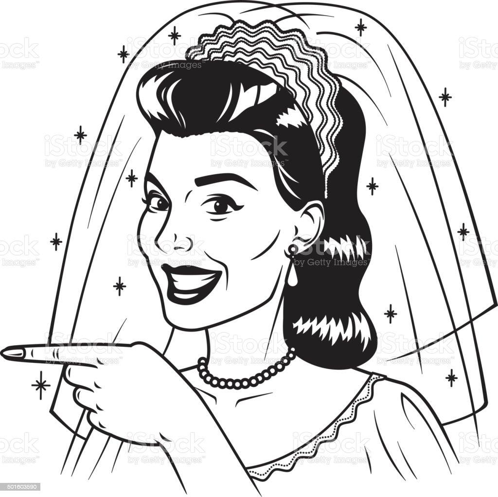 Retro Bride Pointing Her Finger vector art illustration