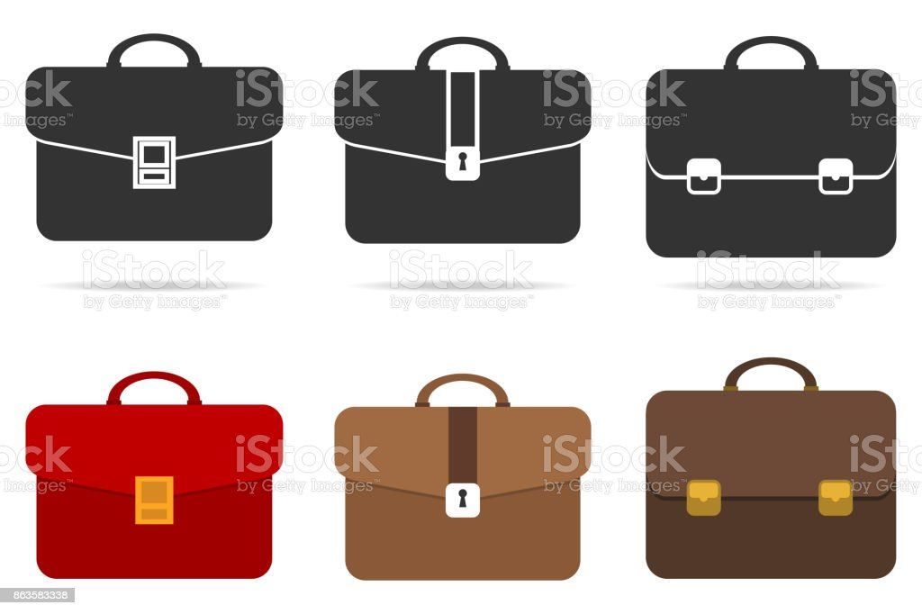 Retro briefcase vector art illustration