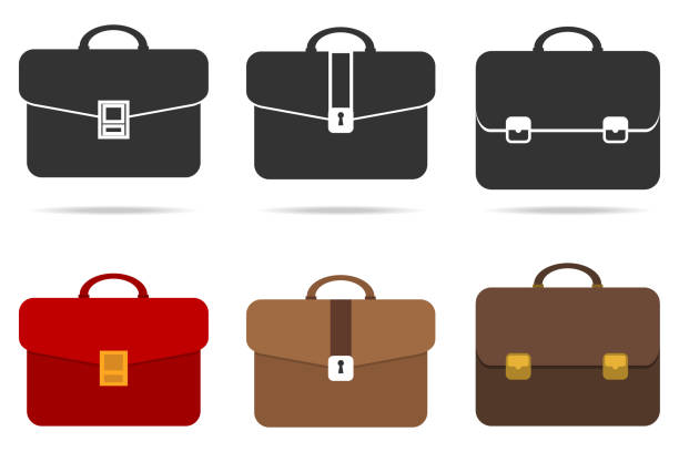 stockillustraties, clipart, cartoons en iconen met retro aktetas - portfolio tas