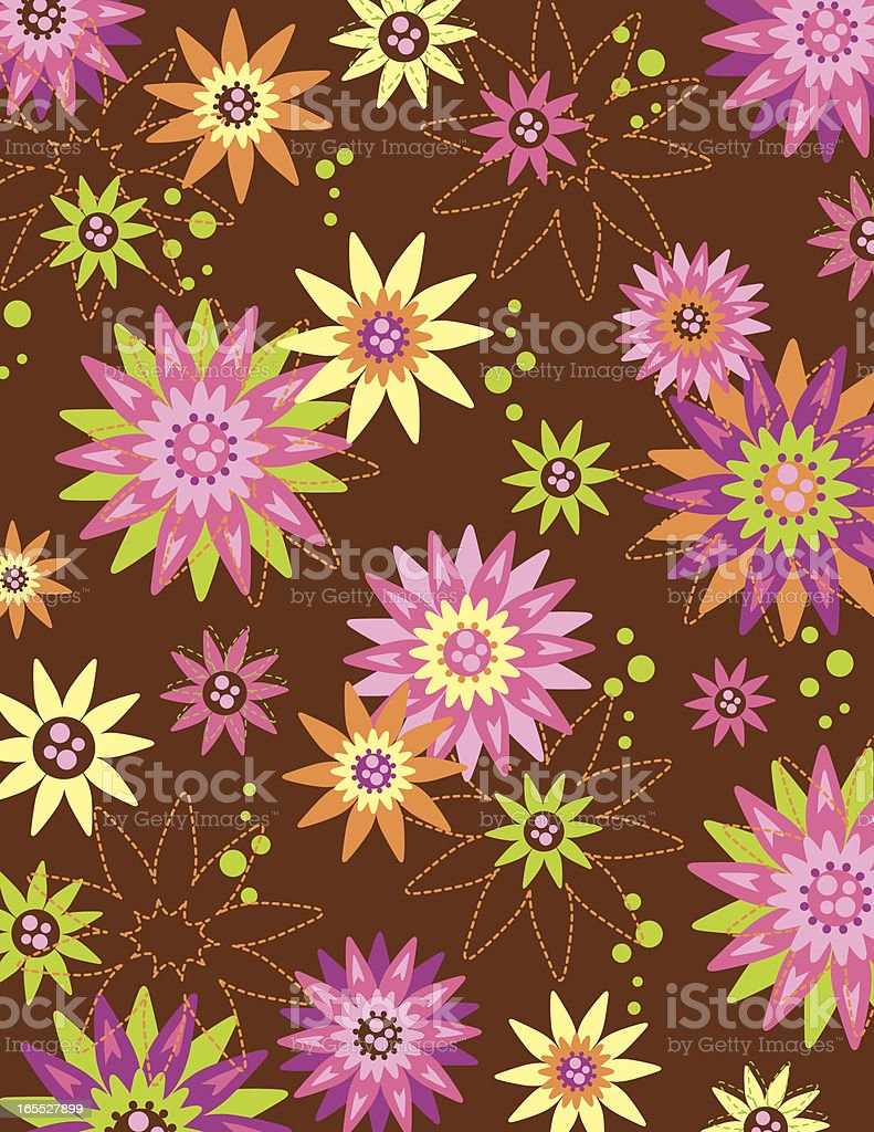 Retro Brown Daisy Flower Pattern Stock Vector Art More Images Of