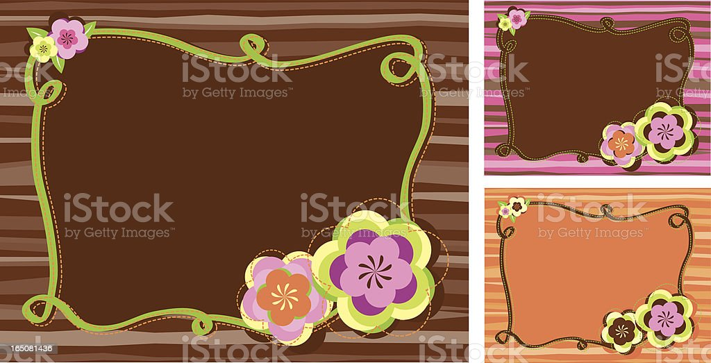 retro brown flower frames royalty-free stock vector art