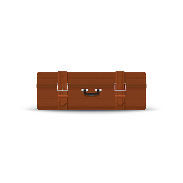 retro-braun koffer isoliert auf weißem - lederranzen stock-grafiken, -clipart, -cartoons und -symbole