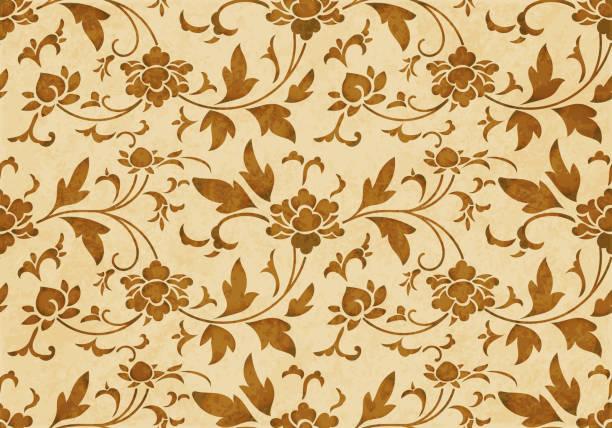 レトロな茶色の水彩テクスチャ グランジ シームレスな背景植物園スパイラル花つる - 台湾点のイラスト素材/クリップアート素材/マンガ素材/アイコン素材