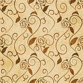Retro brown watercolor texture grunge seamless background spiral leaf vine rose flower