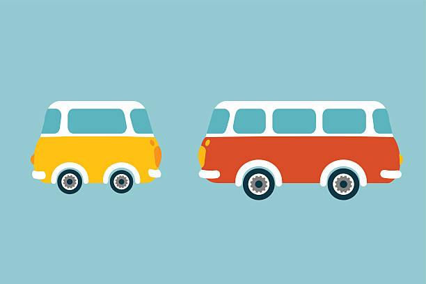 ilustrações de stock, clip art, desenhos animados e ícones de ônibus retrô. conceito de vetor plana. - viagens anos 70