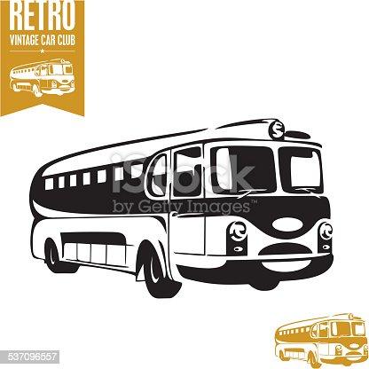 Retro bus vector illustration. Vintage bus.