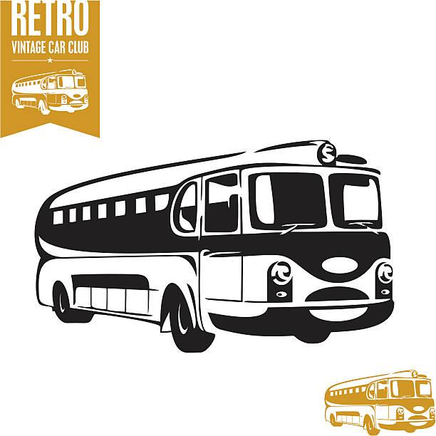 retro-bus. vintage bus. - tour bus stock-grafiken, -clipart, -cartoons und -symbole