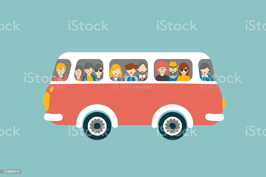 Retro bus with hipster people. vector art illustration