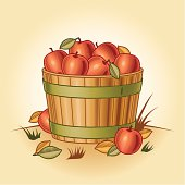 Retro bushel of apples in woodcut style. Vector illustration with clipping mask. Includes high resolution JPG.