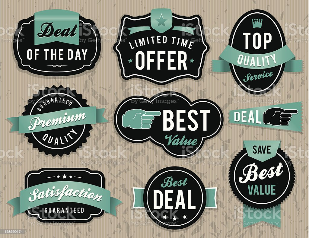 Retro business labels and badges royalty-free stock vector art