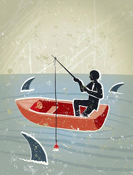 retro business mann angeln im see umgeben von sharks - haifischköder stock-grafiken, -clipart, -cartoons und -symbole