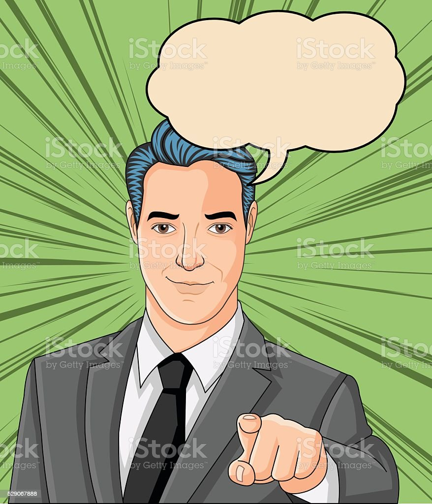 Retro business man pointing the finger at you. vector art illustration