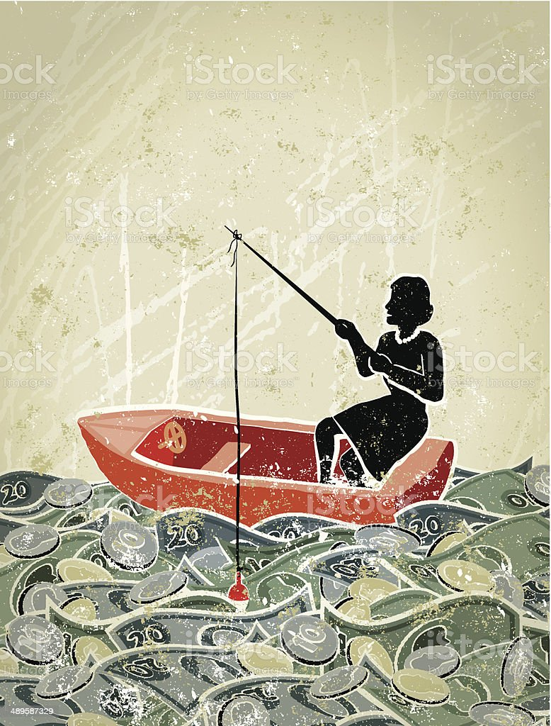 Retro,  Business Woman Fishing in a Sea of Money vector art illustration