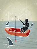Gone Fishing! A stylized vector cartoon of a Businesswoman Fishing in a swirling sea surrounded by sharks , suggesting ,predator, risk, danger or danger. Woman, boat, sharks, Waves, paper texture and background are on different layers for easy editing. Please note: this is an eps 10 illustration and clipping masks have been used.