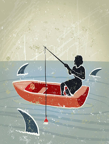 retro business-frau angeln im meer umgeben von sharks - haifischköder stock-grafiken, -clipart, -cartoons und -symbole