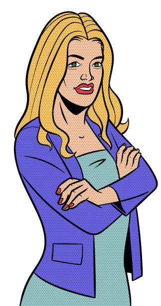 ilustrações de stock, clip art, desenhos animados e ícones de retro business woman halftone - portrait of confident business
