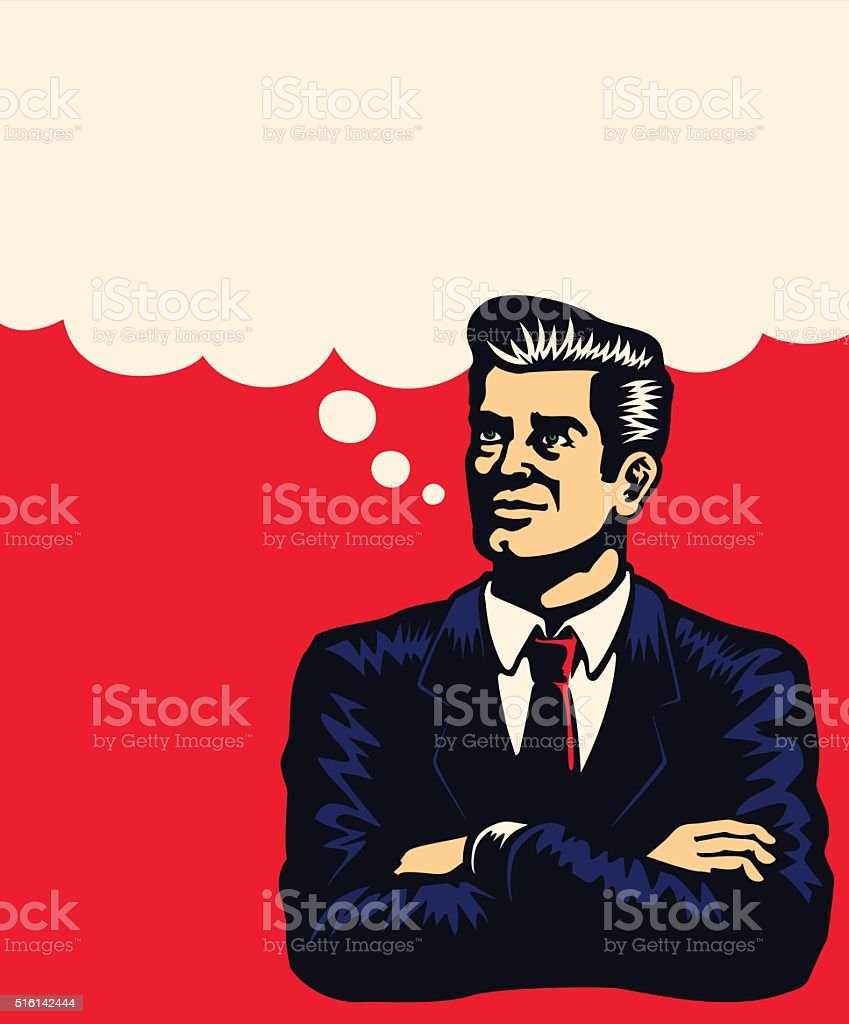 Retro businessman thinking arms folded, comic book style vector illustration vector art illustration