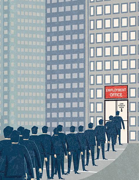 ретро бизнесмен стоять в очереди на биржа труда - unemployment stock illustrations