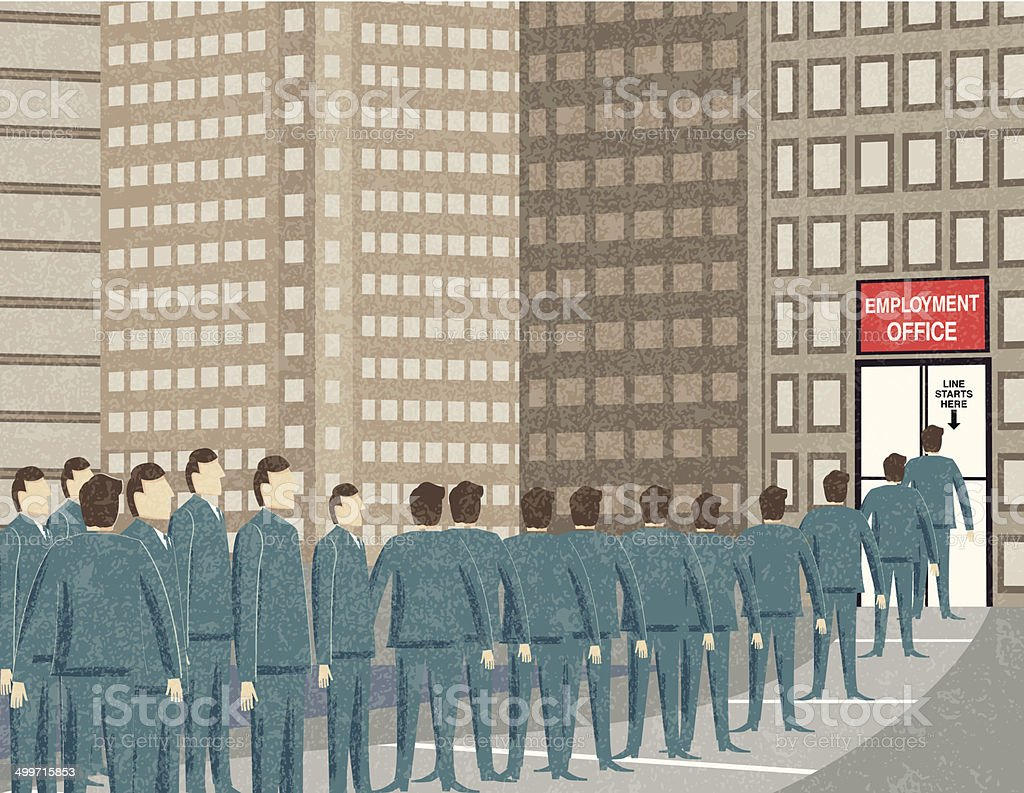 Retro Businessmen Waiting In Line At The Unemployment Office vector art illustration