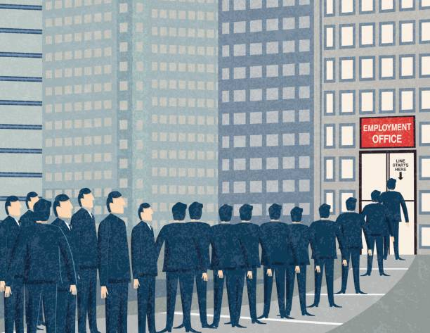 retro businessmen waiting in line at the unemployment office - unemployment stock illustrations