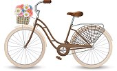 Retro bycicle with basket of flowers. Healthy lifestyle, fitness. Vector illustration EPS10.