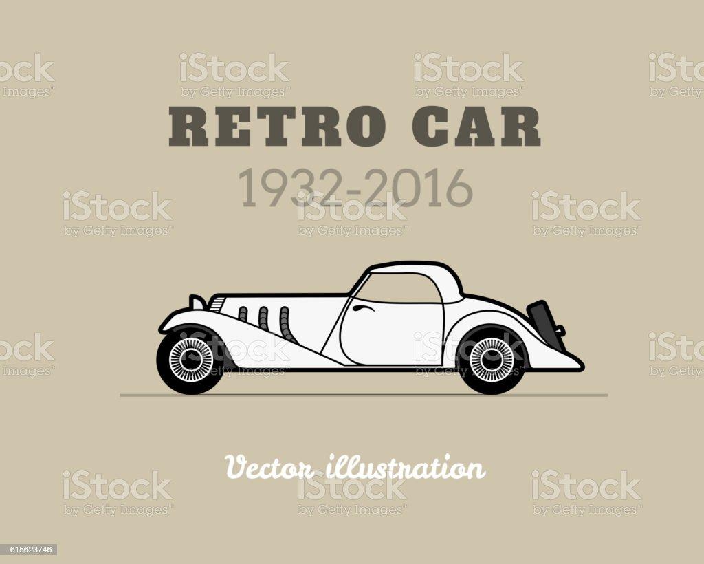 Retrocabriolet Sport Auto Vintagekollektion Vektor Illustration ...