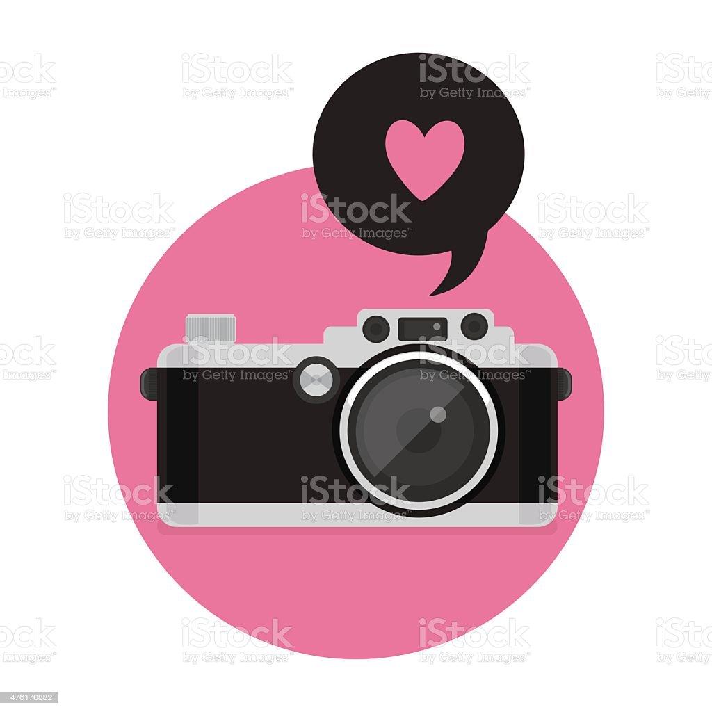 Retro Camera icon. vector illustration. Flat style. vector art illustration