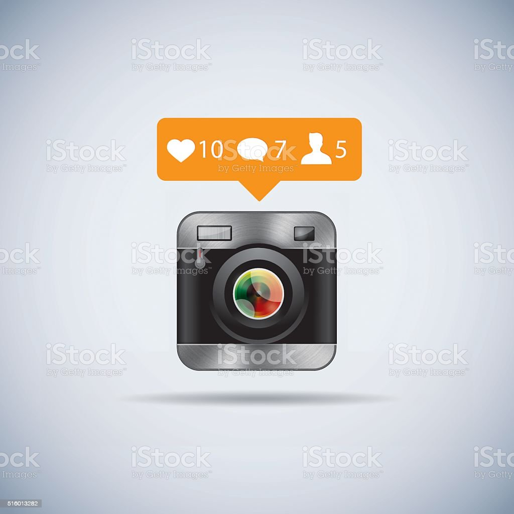 Retro camera icon with like counter vector art illustration