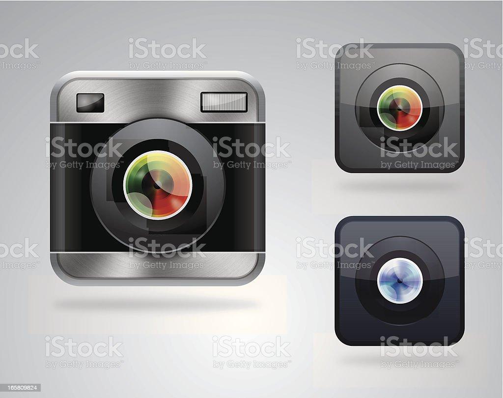 Retro camera icons vector art illustration