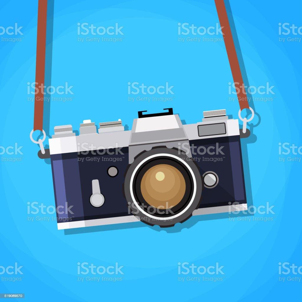 Retro camera in a flat style. vector art illustration