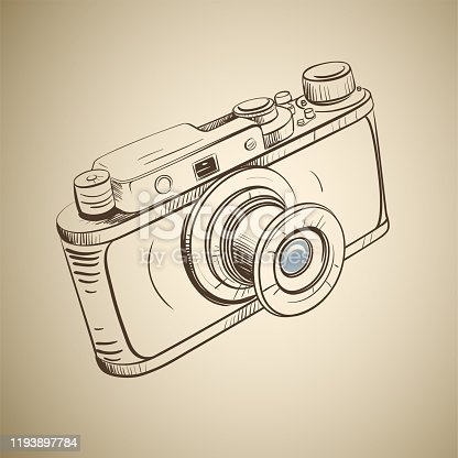 Retro camera in a sketch style on a sepia background
