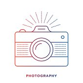 Thin line icon with gradient color, retro camera symbol for photography compositions. Modern style vector illustration concept.
