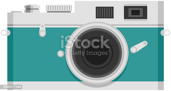 Green Retro Camera Icon in Vector