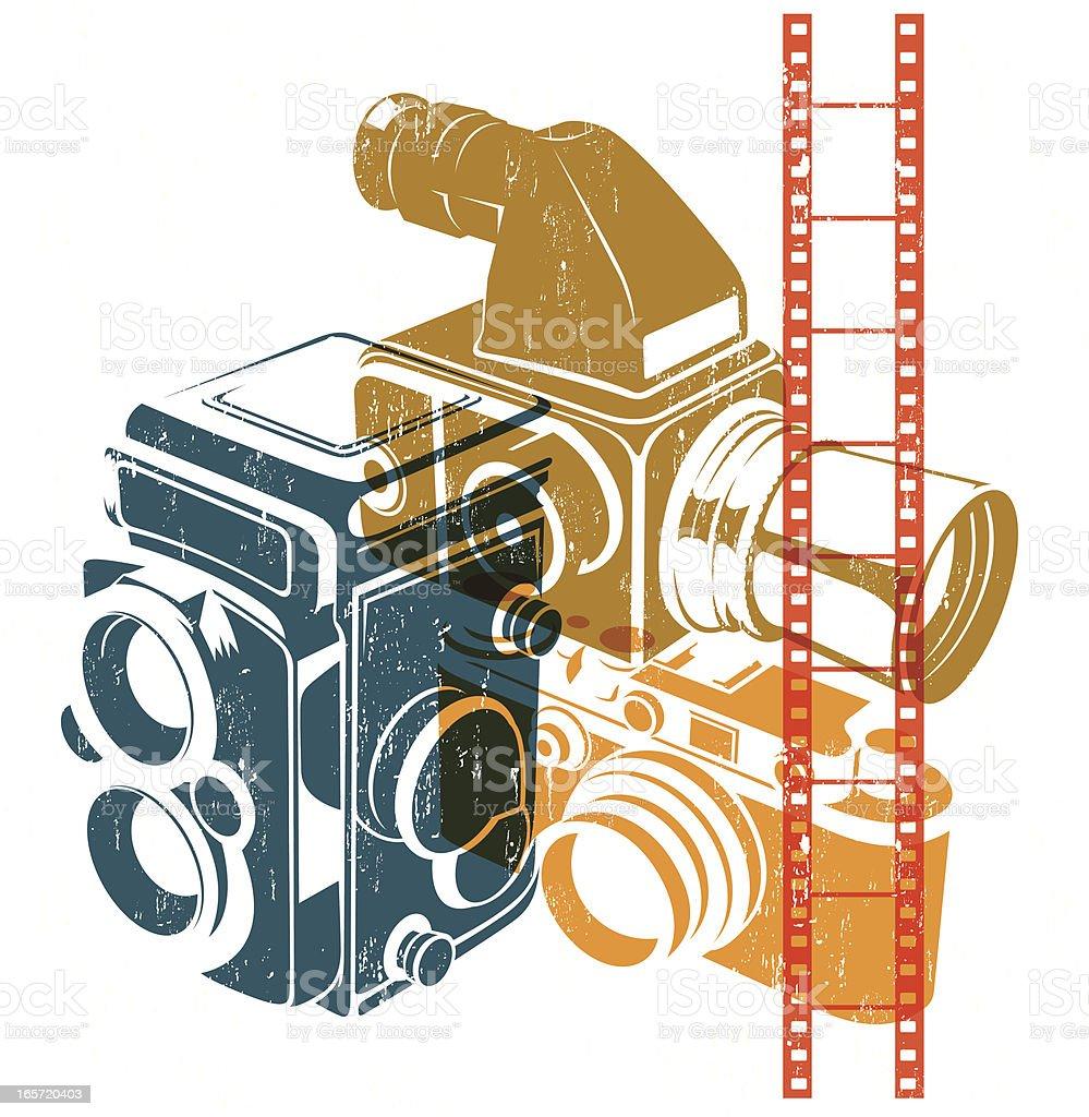 Retro cameras vector art illustration