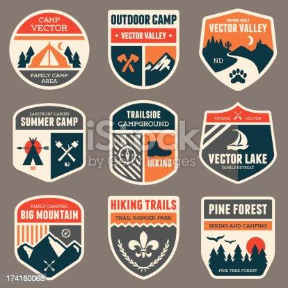 Set of vintage outdoor camp badges and emblems.