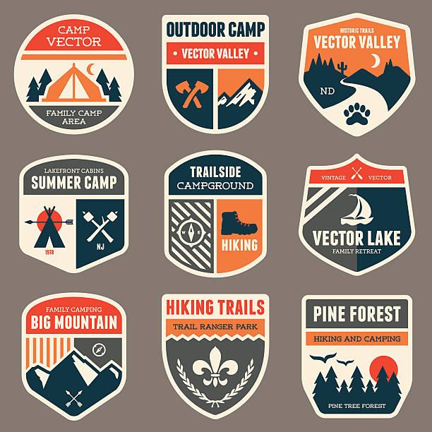 retro obozu odznaki - przypinka stock illustrations